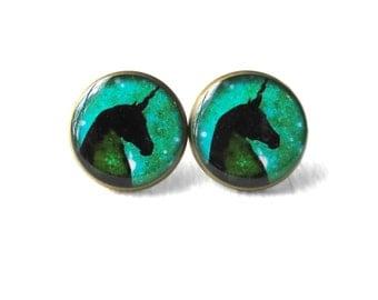 Turquoise Green Galaxy Unicorn Stud Earrings - Pastel Goth & Soft Grunge Funny Jewelry - Kawaii Creepy Cute Bubblegum Nu Goth Earrings