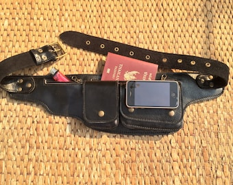 Leather Utility Belt Bag -The Explorer -Passport Holder, Iphone Pocket,Steampunk, Festival, Travel, Fanny Pack, Burning Man