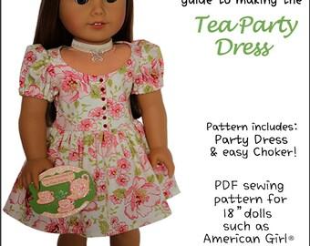 Pixie Faire Peppermintsticks The Tea Party Dress Doll Clothes Pattern for 18 inch AG Dolls - PDF