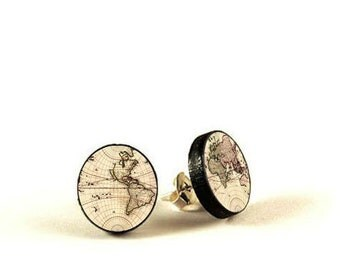 Vintage World Map - handmade stud earrings - decoupage