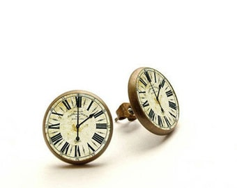 Vintage clock - handmade stud earrings - SALE, Clock studs earrings, Clock - Watch Jewelry, Hypoallergenic Earrings