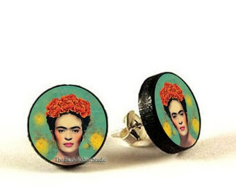 Frida Kahlo Earrings, Frida Kahlo Jewelry, Frida stud, decoupage earrings, Hypoallergenic Earrings for Sensitive Ears
