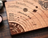 Solar System Diagram Cutting Board, Astronomy, Geeky Graduation Gift, Engraved Wood Kitchen Decor, Science Art, Space, Planets, Geekery
