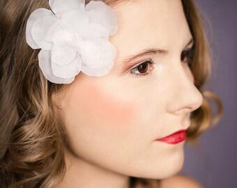 Bridal hair adornment camellia Vivian silk flower white wedding bobby pin 010104-03