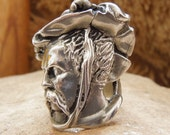 Carved Don Quixote Ring in Sterling Silver
