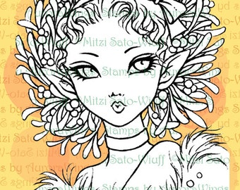 PNG Digital Stamp - Instant Download - Mistletoe Fairy - Big Eye Holiday Elf  - Christmas Line Art for Cards & Crafts by Mitzi Sato-Wiuff