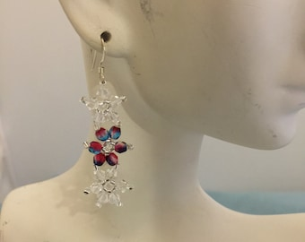 Swarovski Crystal and Red/Bllue Fire-Polished Crystal woven seed beaded Earrings
