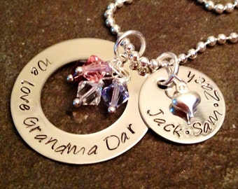 Hand stamped personalized grandma necklace nana