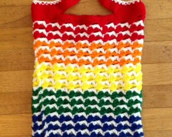 Crochet Rainbow Tote