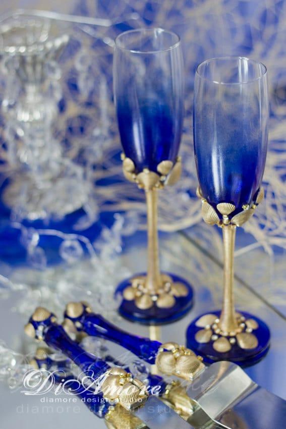 Personalized Wedding Set Royal Blue Gold Toasting Flutes