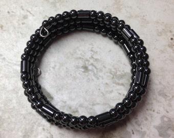 Gunmetal Gray Memory Wire Bracelet