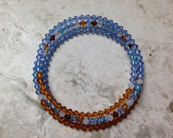 Beachy Blue Memory Wire Bracelet
