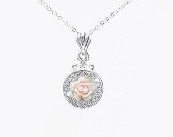 Pale Pink Swarovski Crystal Flower Necklace, Dainty Pink Crystal Flower Necklace