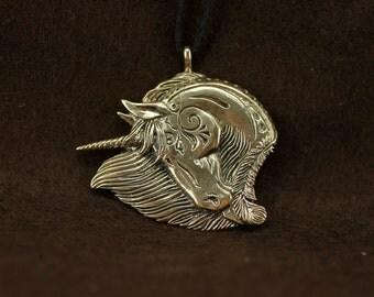 Horse Unicorn bronze pendant necklace