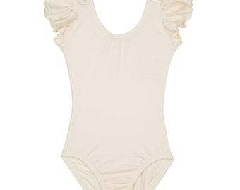 IVORY CREAM Toddler & Girls Flutter / Ruffle Short Sleeve Leotard - Flower Girl Favorite!