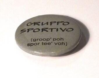 Gruppo Sportivo Pinback Vintage Hans Vandenburg Button 1970s Dutch Netherlands Ariola Benelux vocalist music memorabilia FREE US SHIP