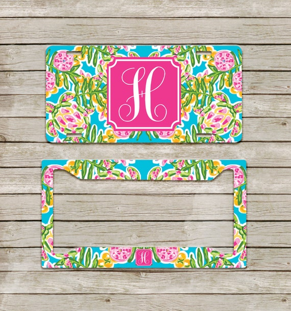 preppy nautical turtles lilly inspired monogram license plate license plate frame personalized custom gift set