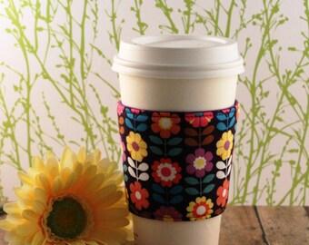 Fabric Coffee Cozy / Retro Flowers Coffee Cozy / Flower Coffee Cozy / Coffee Cozy / Tea Cozy
