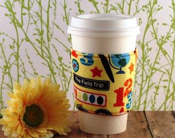 Fabric Coffee Cozy / I Love School Coffee Cozy / Teacher Coffee Cozy / School Coffee Cozy / Coffee Cozy / Tea Cozy