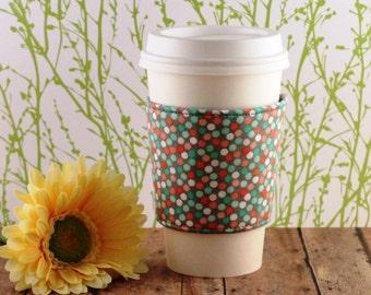 Fabric Coffee Cozy / Pastel Polka Dots Coffee Cozy / Polka Dot Coffee Cozy / Coffee Cozy / Tea Cozy