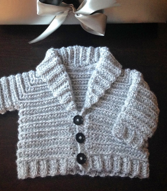 CROCHET PATTERN Jordan Shawl Collared Baby Cardigan Jacket Sweater ...
