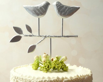 Silver Cake Topper,  Love Bird Cake Topper, Rustic Wedding Cake Topper Silver