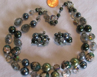 Unique Beaded VENDOME Signed Demi Parure, 2 Strand Necklace & Matching Clip Earrings, Glass Glitter Beads, 1950's