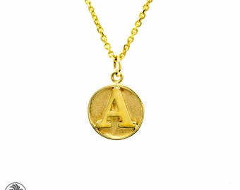 Initial Pendant, Monogram Pendant, Yellow Gold Necklace, Baby Jewelry, Anniversary Pendant, Round Initial, Mothers Jewelry | NEC01823