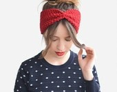 Hand Knit Headband in Red, Womens Ear Warmer, Winter Headband, Custom Color / Hand knitted