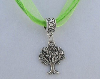 Silver Tree Charm 17in Green Ribbon Necklace  (N131)
