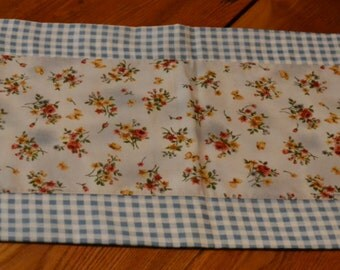 Homemade Table Runner, Kitchen Decor, Flowers, Made in Michigan, White, Blue, Checkered
