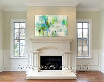 Turquoise and Blue Abstract Art Print, Giclee Print of Original Painting, Large Canvas Wall Art, White and Green Painting, Large Prints