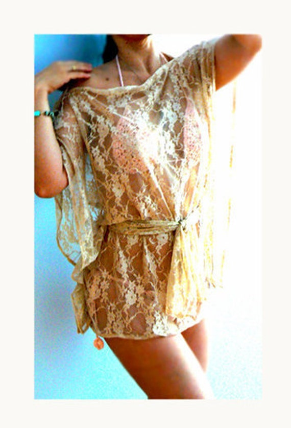 Lace swimsuit coverup top -Natural lace blouse- Handmade women lace beach top- Sexy lace top coverup bikini-Boho lace top