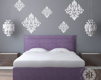 Bedroom Wall Decal, Bedroom Decor, Ornate Wall Decal, Damask Vinyl Decal,  Bedroom