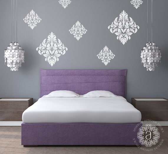 bedroom wall decal bedroom decor ornate wall decal damask. Black Bedroom Furniture Sets. Home Design Ideas