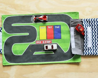 Race Track Playmat, toy car mat, portable play mat, travel toys, toddler gift, preschool toys, pretend play, indoor pretend play