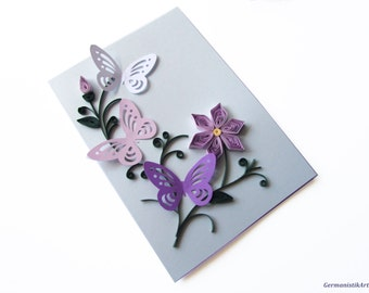 Mother's Day Card, Purple Flower Card, Happy Birthday Card, Butterfly Quilling Card, Thanksgiving Card, Blank Birthday Card