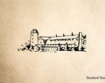 Old Barn and Silo Rubber Stamp - 2 x 2 inches