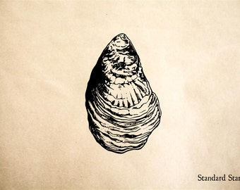 Oyster Rubber Stamp - 2 x 2 inches
