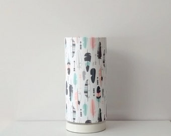 Pastel feather arrows, mint and coral, fabric lampshade with optional base, nursery lamp, girls room decor, lighting