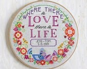 Love + Life - modern cross stitch wedding pattern or baby announcement - Customizable - PDF - Instant download
