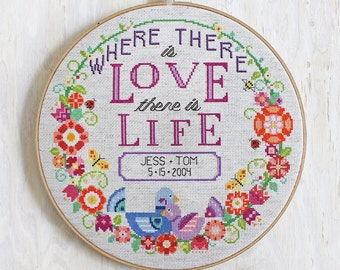 Love + Life - Satsuma Street modern cross stitch wedding pattern or baby announcement - Customizable - PDF - Instant download