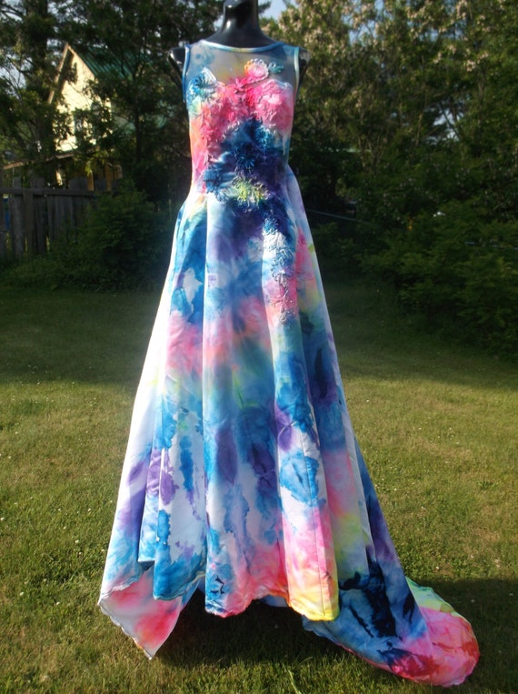 Items similar to tie dye wedding gown size 10 on etsy for Tie dye wedding dress