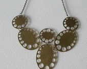 Gold Colored Brass Hole Punch Bib Necklace