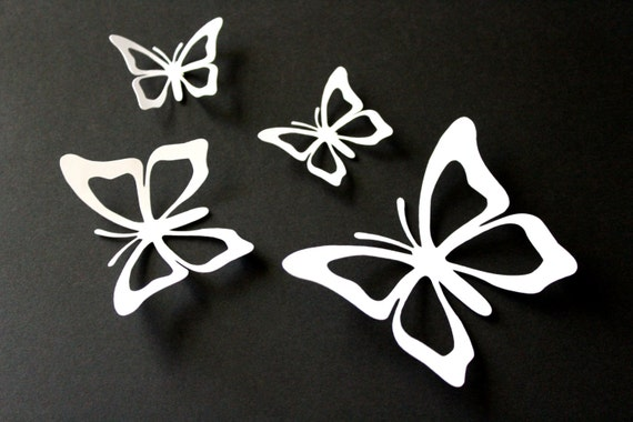 White Butterfly Wall Decor Target : Items similar to d butterfly wall decals white nursery