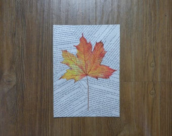 Autumn Leaf Book Page Painting