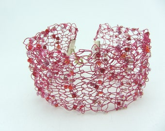 Pink beaded knitted wire cuff, Hand knitted bracelet, Jewellery