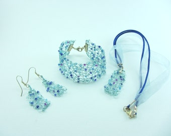Pale blue knitted wire jewellery set, Hand knitted necklace, Hand knitted bracelet, Jewellery