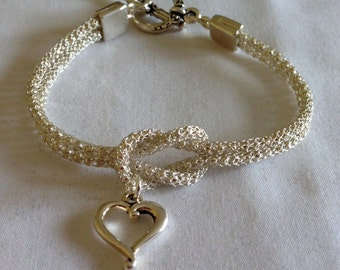 Silver Love Knot Silversilk Bracelet, Silver Bracelet, bracelet, Love Knot Bracelet