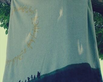The Fellowship of the Ring Themed Fleece Blanket Handmade